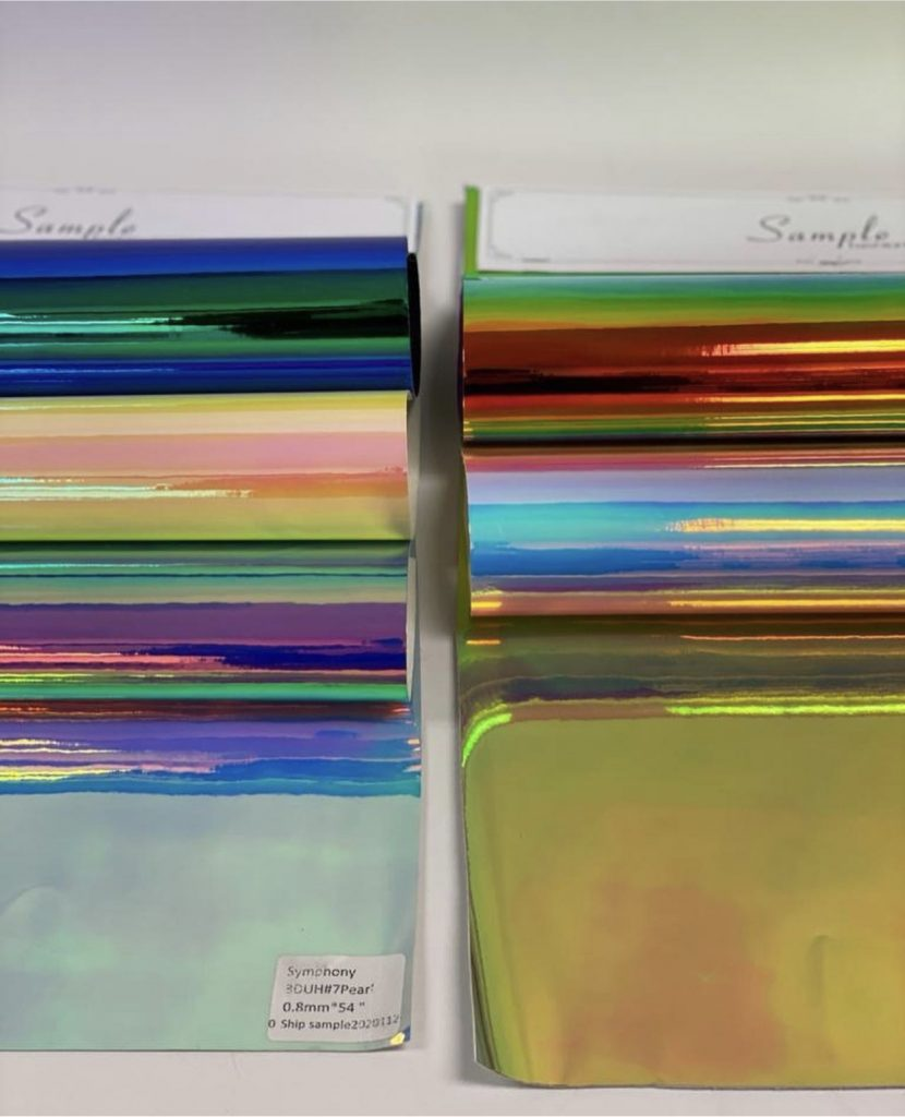 samples of holographic vinyl