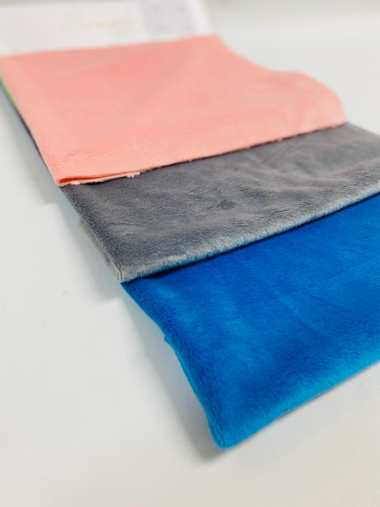 Minky fabric pink, grey, and blue
